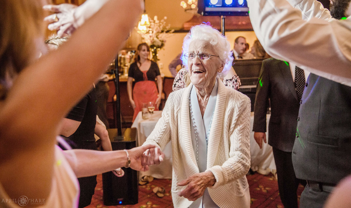 Grandma on the dance floor at a Vail Colorado Wedding Reception