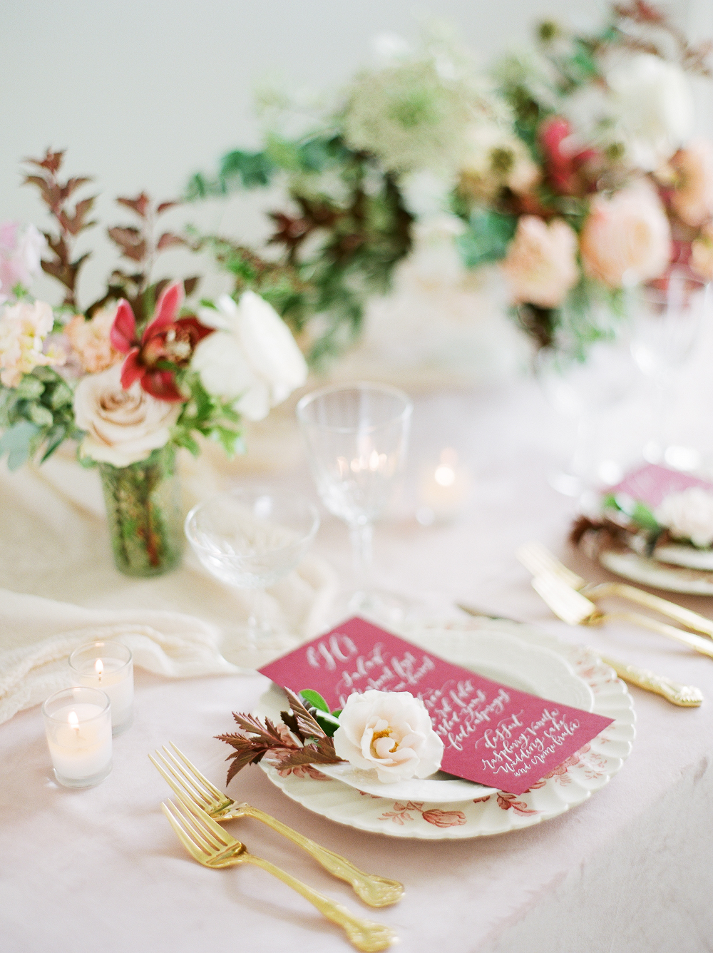 Burgundy and Blush Wedding Inspiration Styled Shoot Stationery Crystal