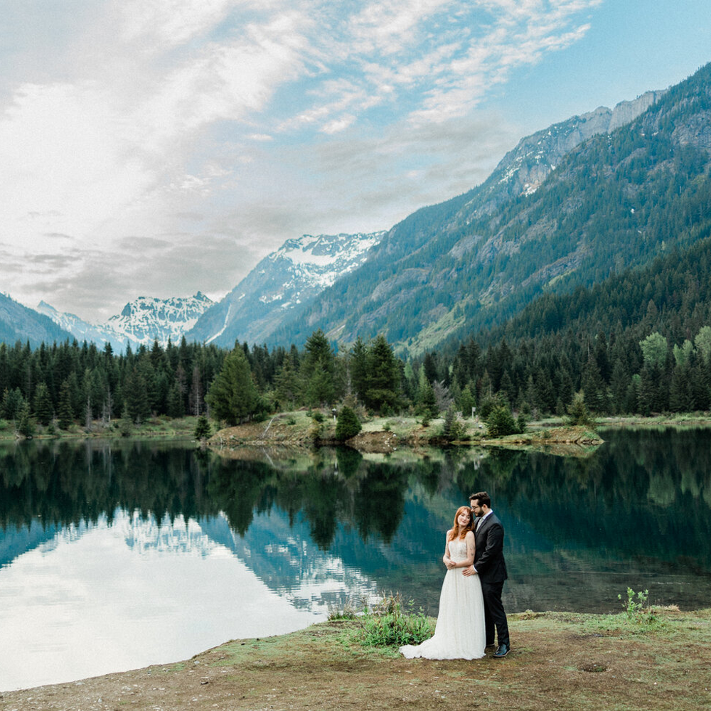 Seattle Wedding Photographer and Videographer Bride and Groom at Elopement in Gold Creek Pond