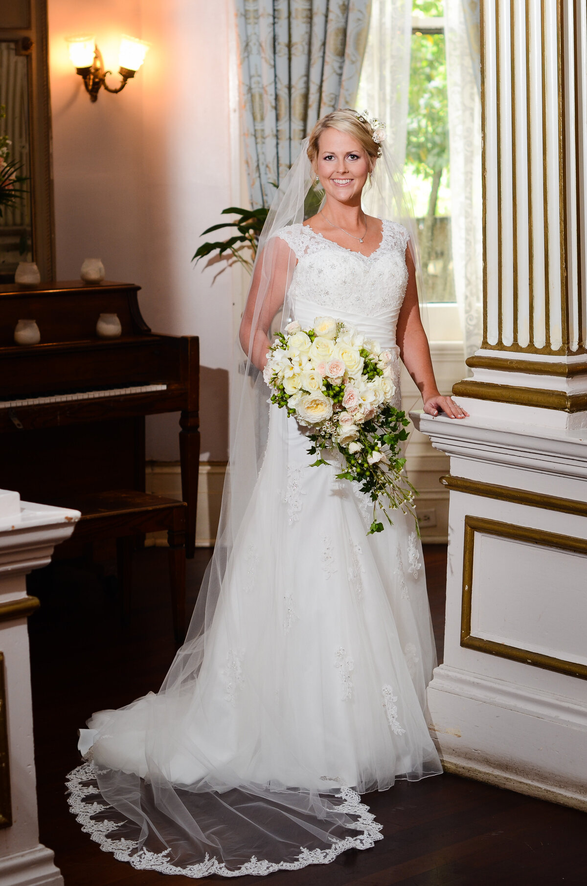 Beautiful bridal portrait: Formal Bridal portrait at The Columns Hotel on St. Charles in New Orleans, NOLA Wedding