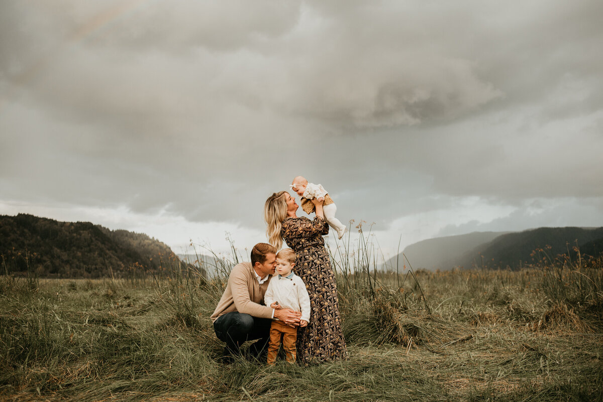 family portrait session in a field