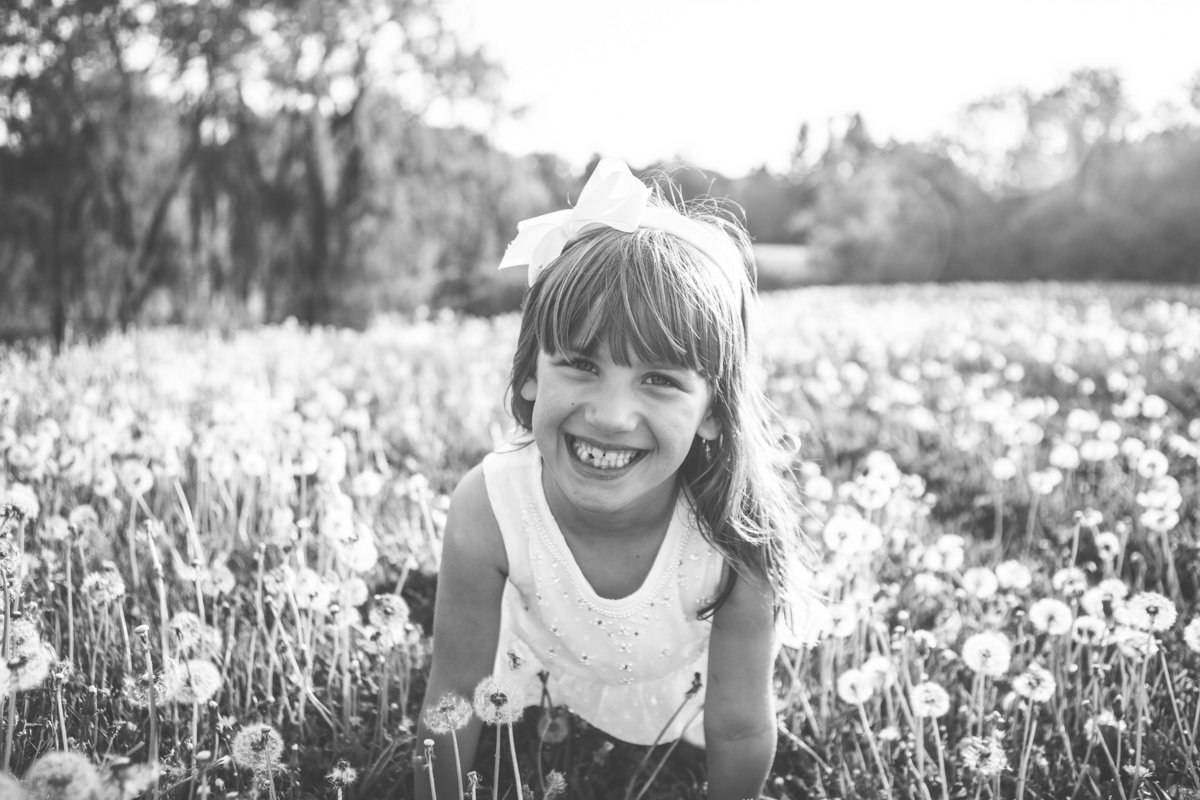 5 year old year in dandelion field smiling {Oakville Child Photographer}