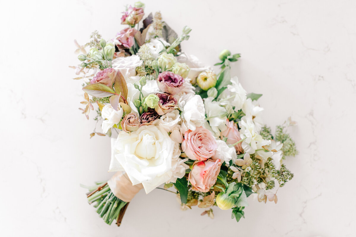 White and pink bridal bouquet by Chelan Floral at The Lookout
