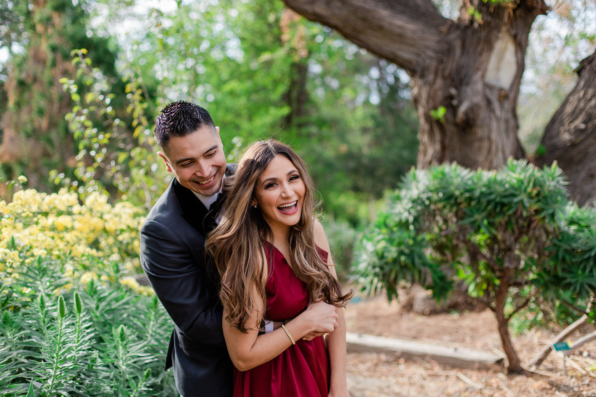 UC Riverside Botanical Gardens, Engagement Photography, Riverside Phototgrapher, Garden Engagement, Couple Photography, Red Dress-38