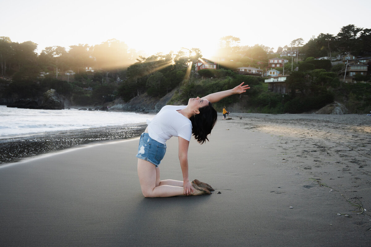 Erika Belanger in Camel Pose at Muir Beach