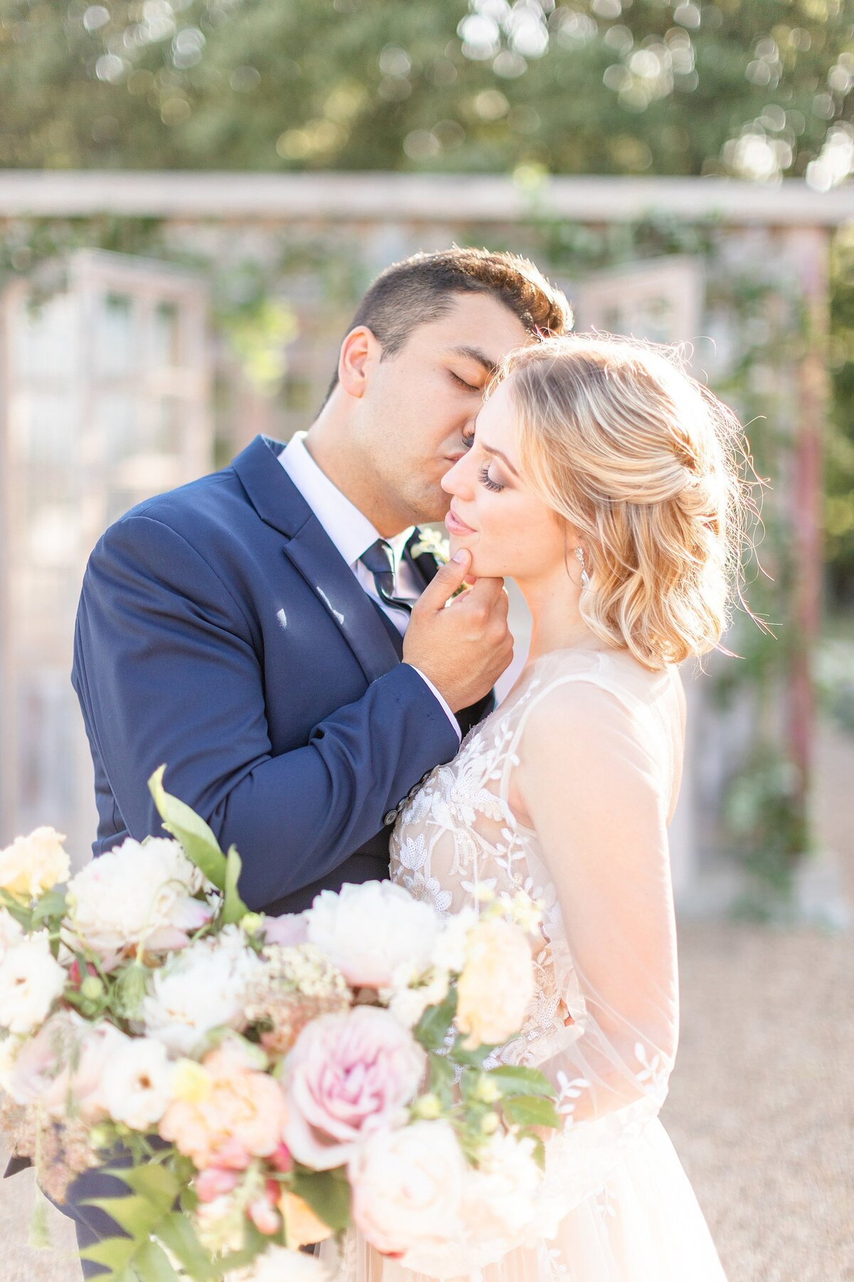 the white sparrow fort worth wedding  first look couple neutral
