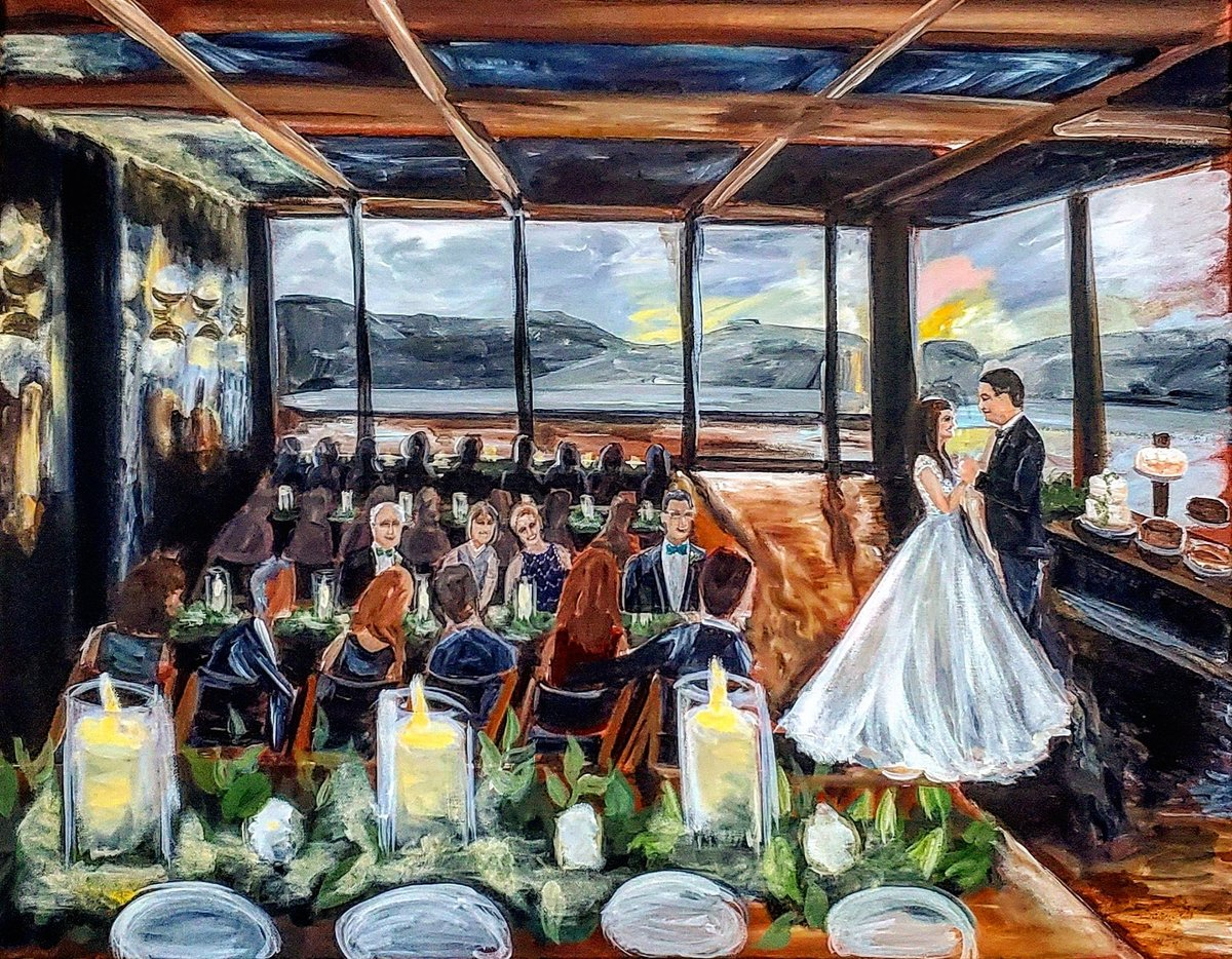 Live painting of a bride and groom sharing their first dance at District Winery in Washington DC