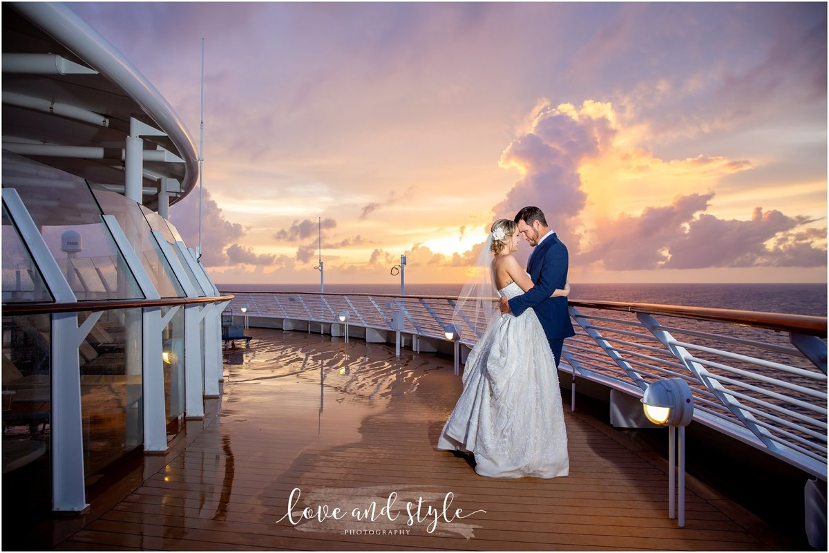 Disney Dream Cruise Wedding Photography bride and groom portrait on the deck with the sunset