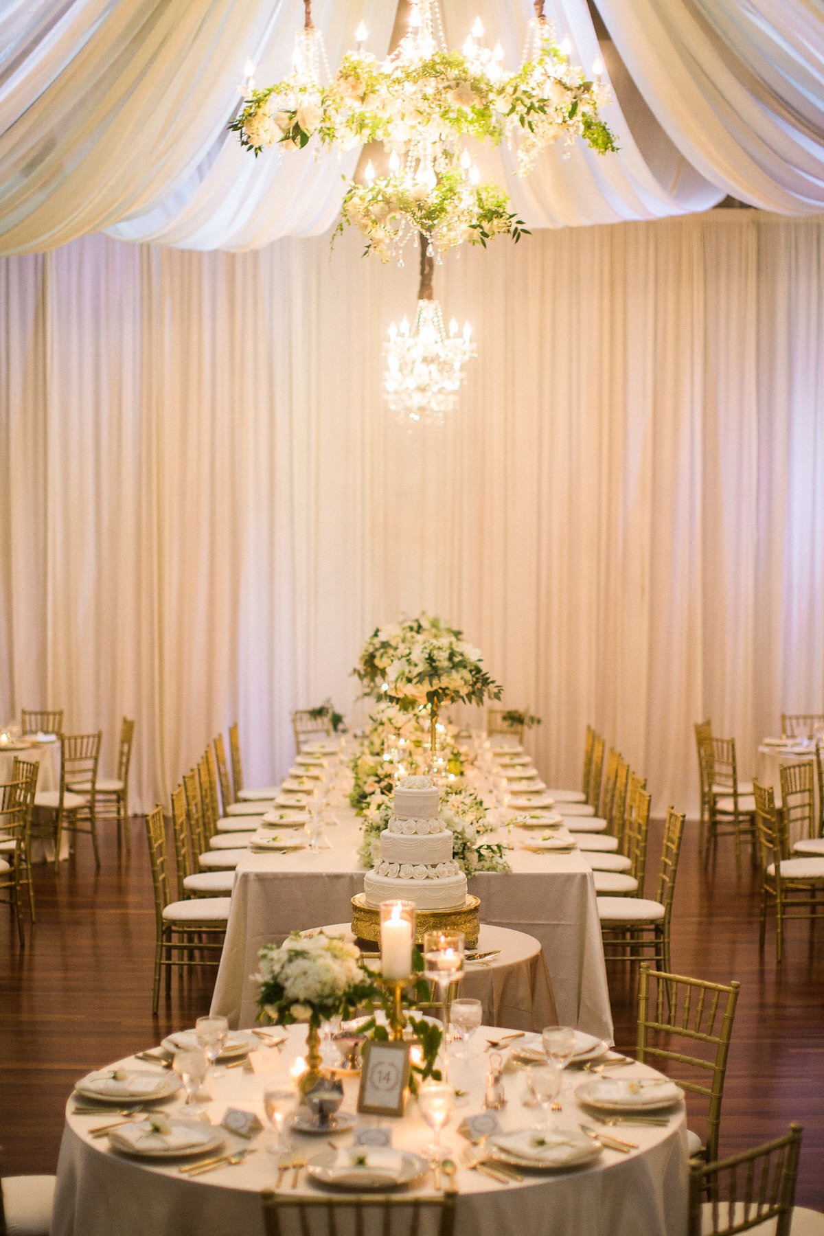 draped ballroom, wedding reception, white and gold wedding