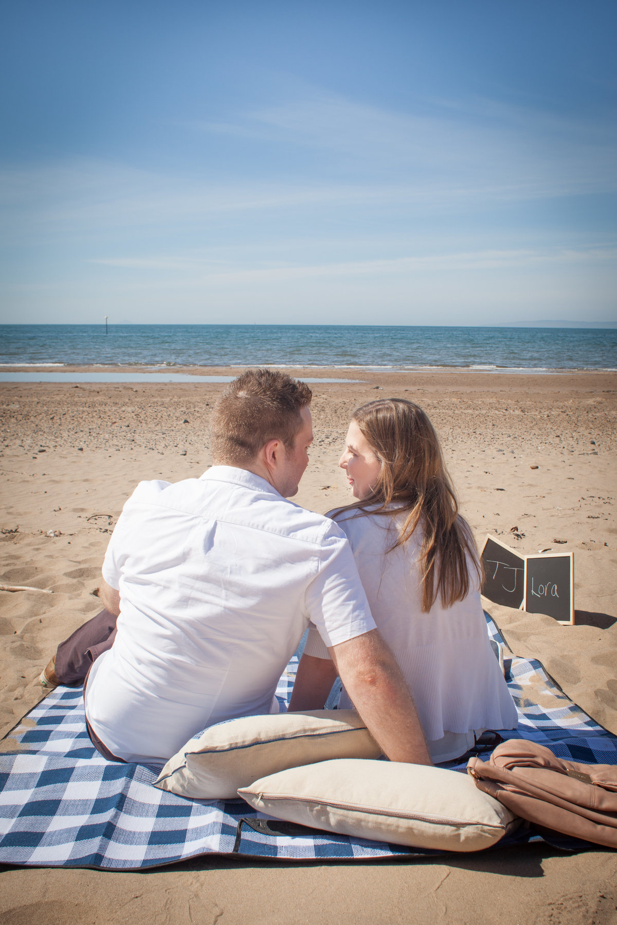 Couples portrait at Troon beach