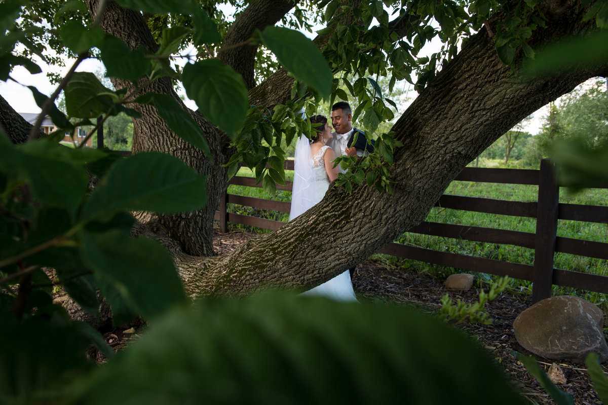 couple portrait shot through trees