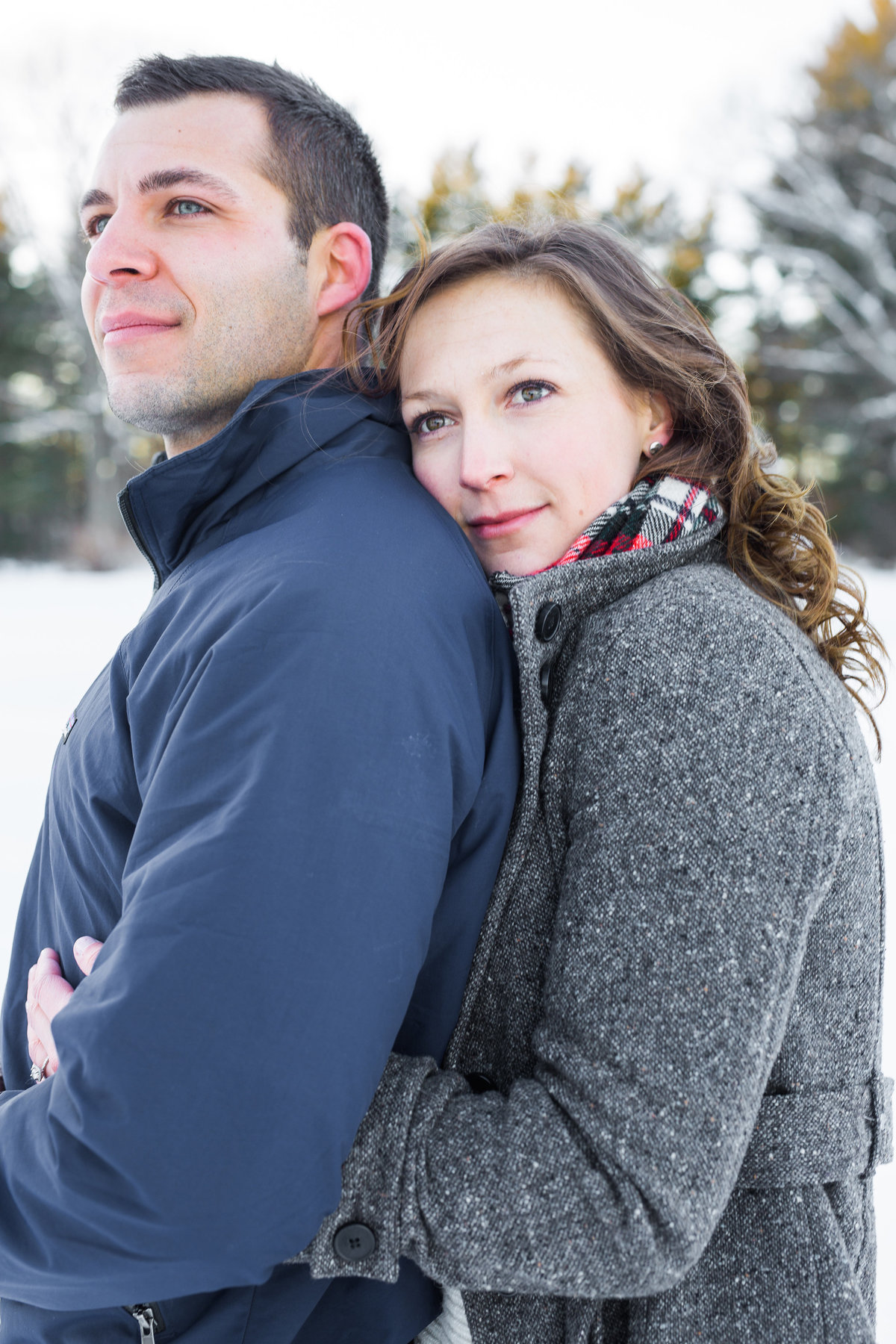 A snowy cold winter engagement session in Newmarket NH