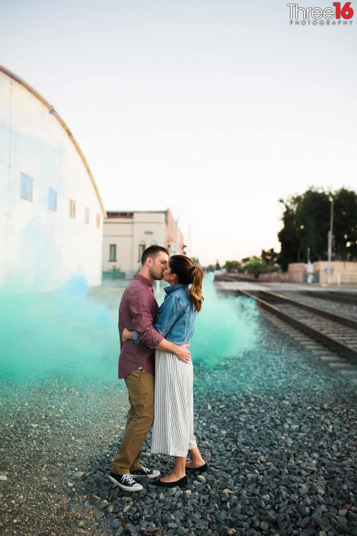 Orange Train Station Engagement Photos