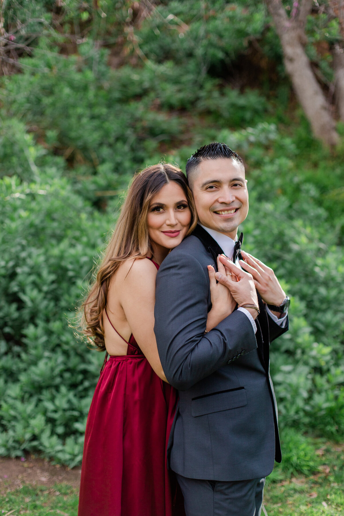 UC Riverside Botanical Gardens, Engagement Photography, Riverside Phototgrapher, Garden Engagement, Couple Photography, Red Dress-20