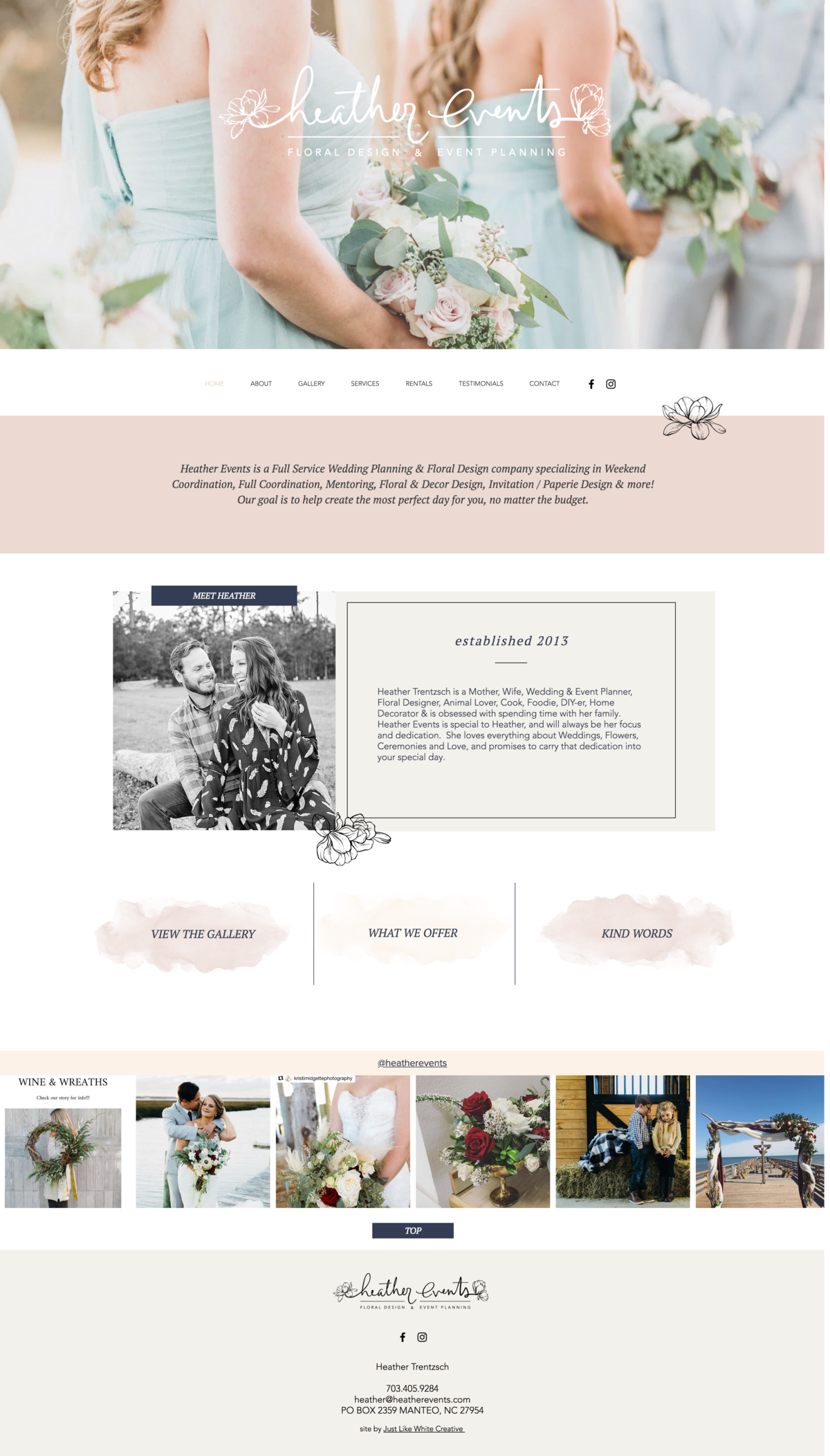 Event planning website by Tribble Design Co.