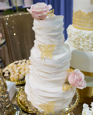 Whippt Desserts fondant wide panel ruffles wedding cake