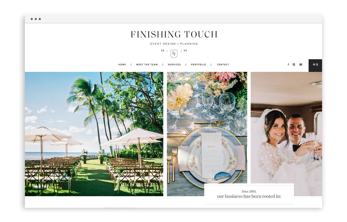 Finishing Touch Hawaii - Custom Brand and Web Design Website Design for Wedding and Event Planner - With Grace and Gold - Showit Website Designer - 19