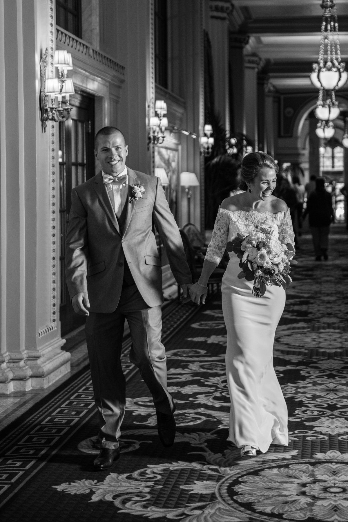 Black anBlack and White of Bride and Groom in Peacock Alley at the Williardd White Wedding Photography of Bride and Groom at the Willard, Peacock Alley