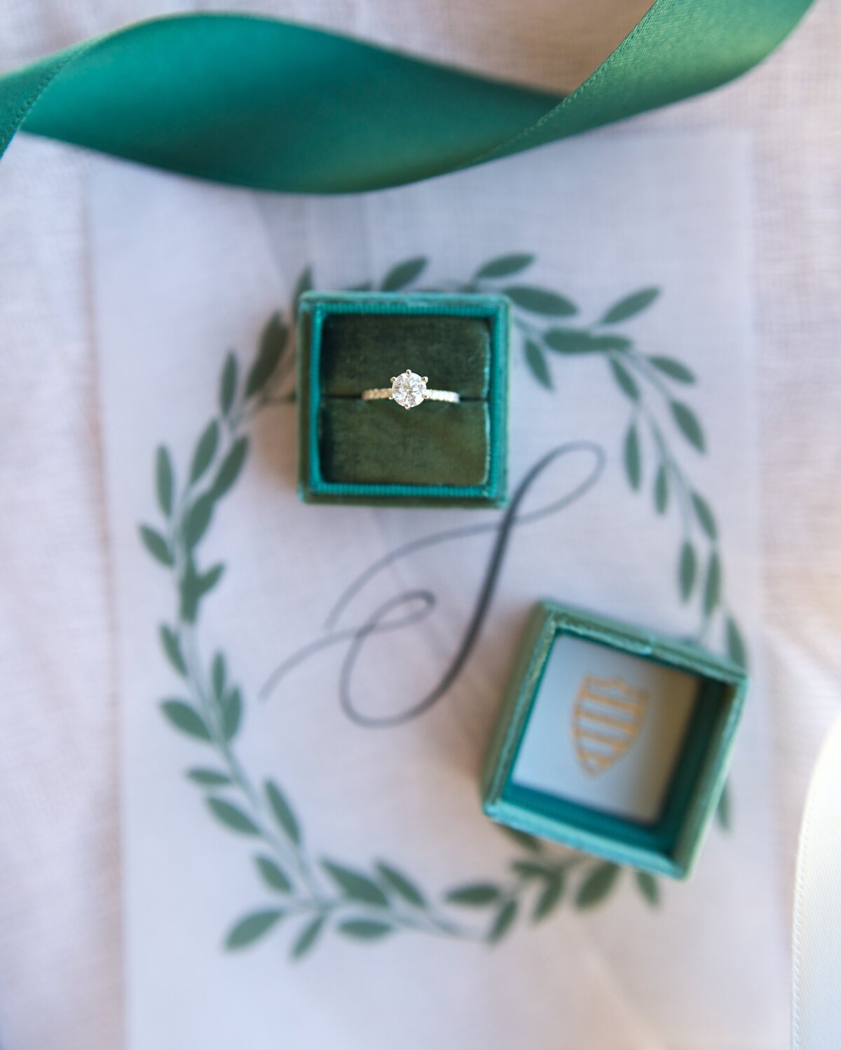 wedding ring with green box