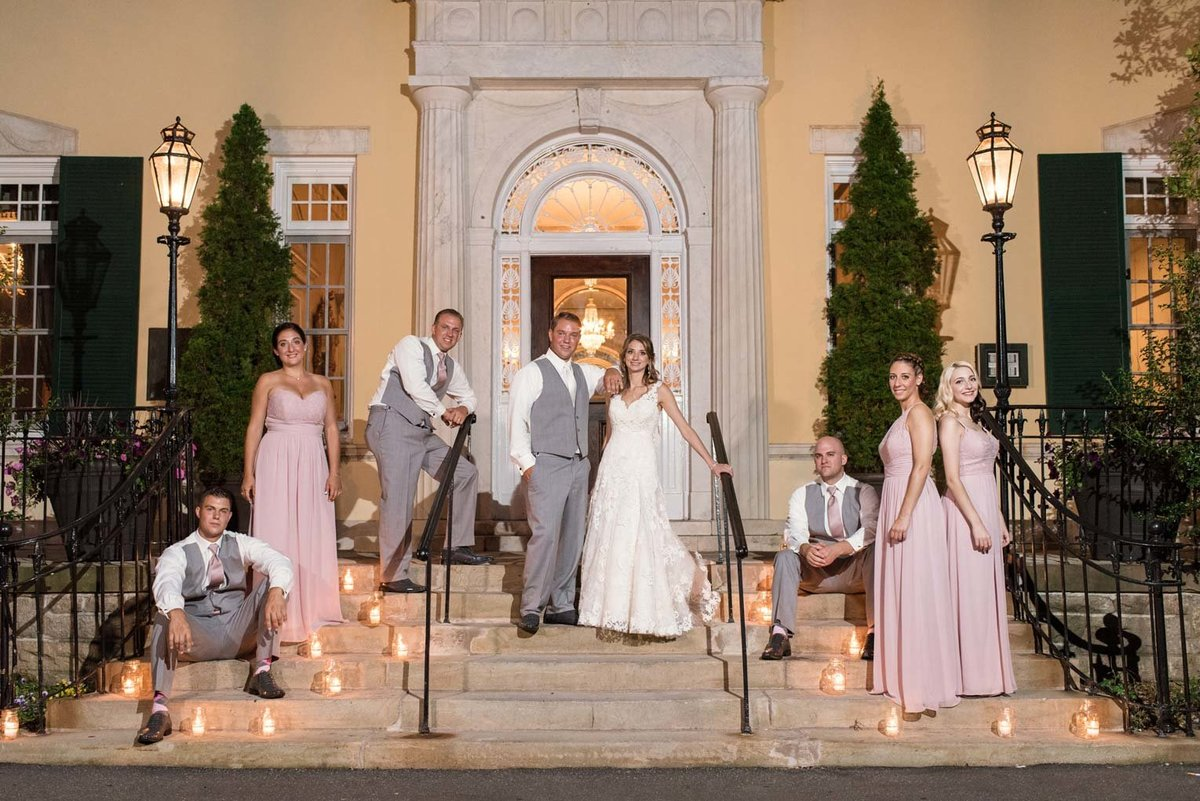 Bridal party photo at the steps of The Mansion at Oyster Bay