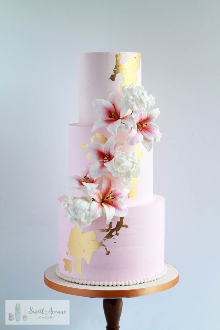 pink ombre wedding cake with sugar lillies, Hamilton ON wedding cakes