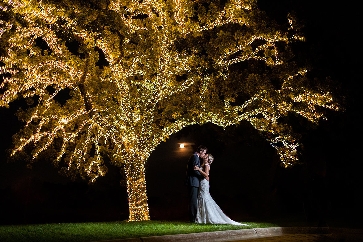 A night photograph of a gorgeous Bride & Groom at Somerby Golf Club in Byron, MN