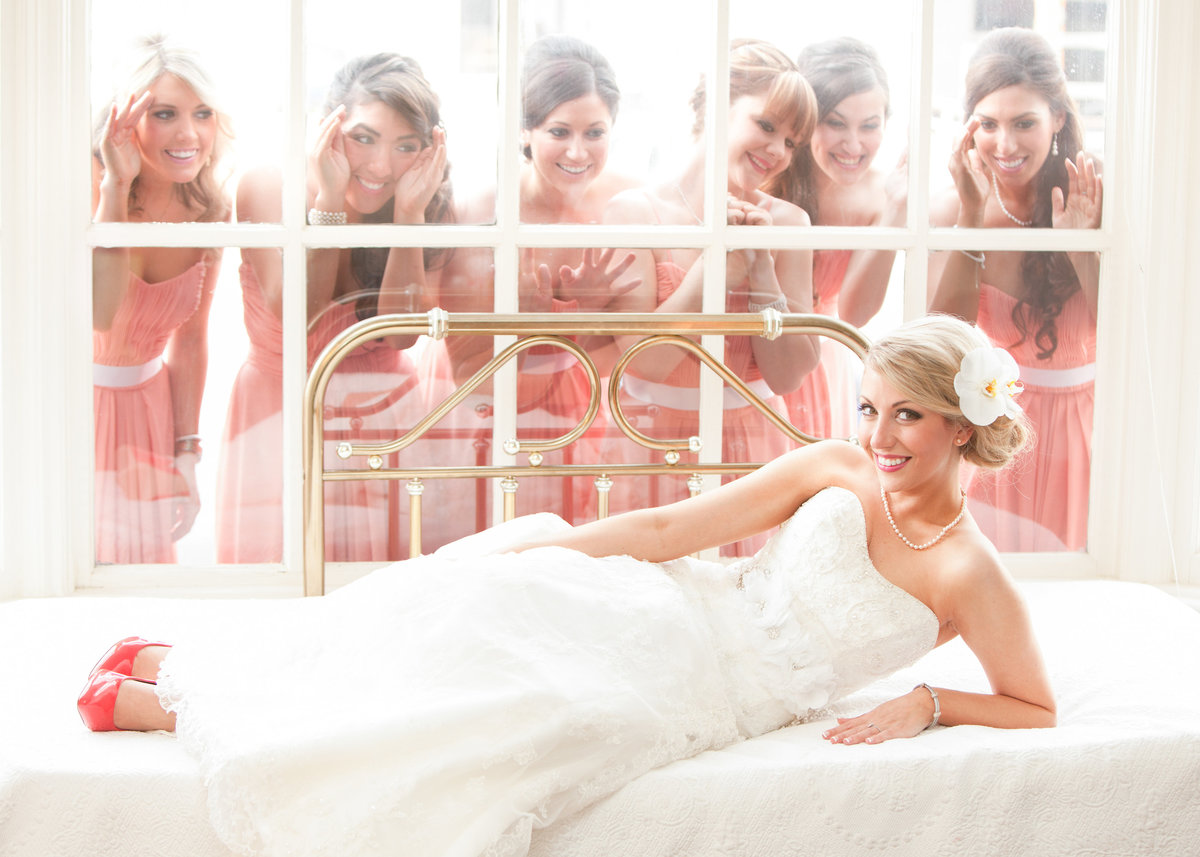 TFWC Mansion wedding photographer bride bridesmaids peek through window cute 2312 San Gabriel St, Austin, TX 78705