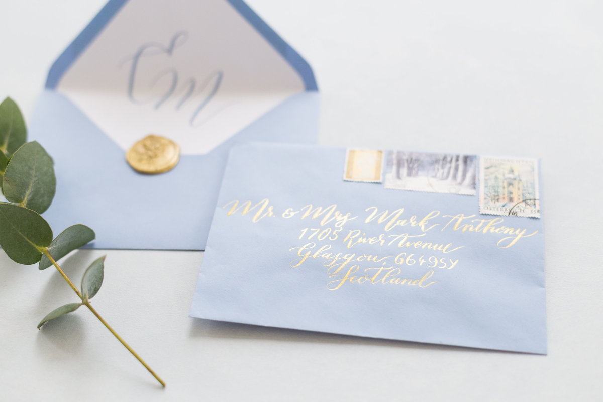 Blue and Gold Invitations | Jenni Liandu Calligraphy