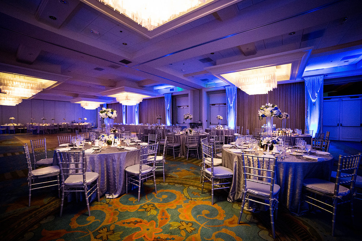 The Westin wedding  photos purple and blue up lighting