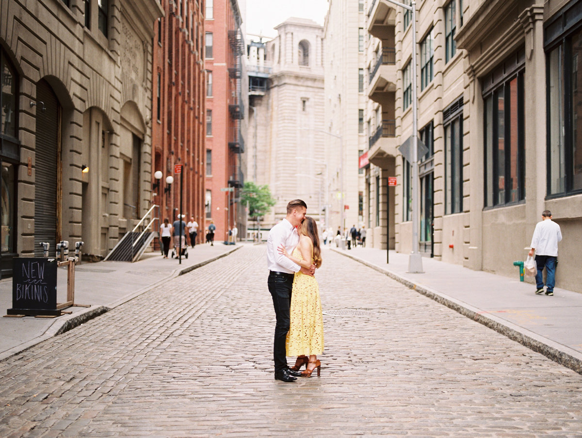 engagement in new york film photography DUMBO