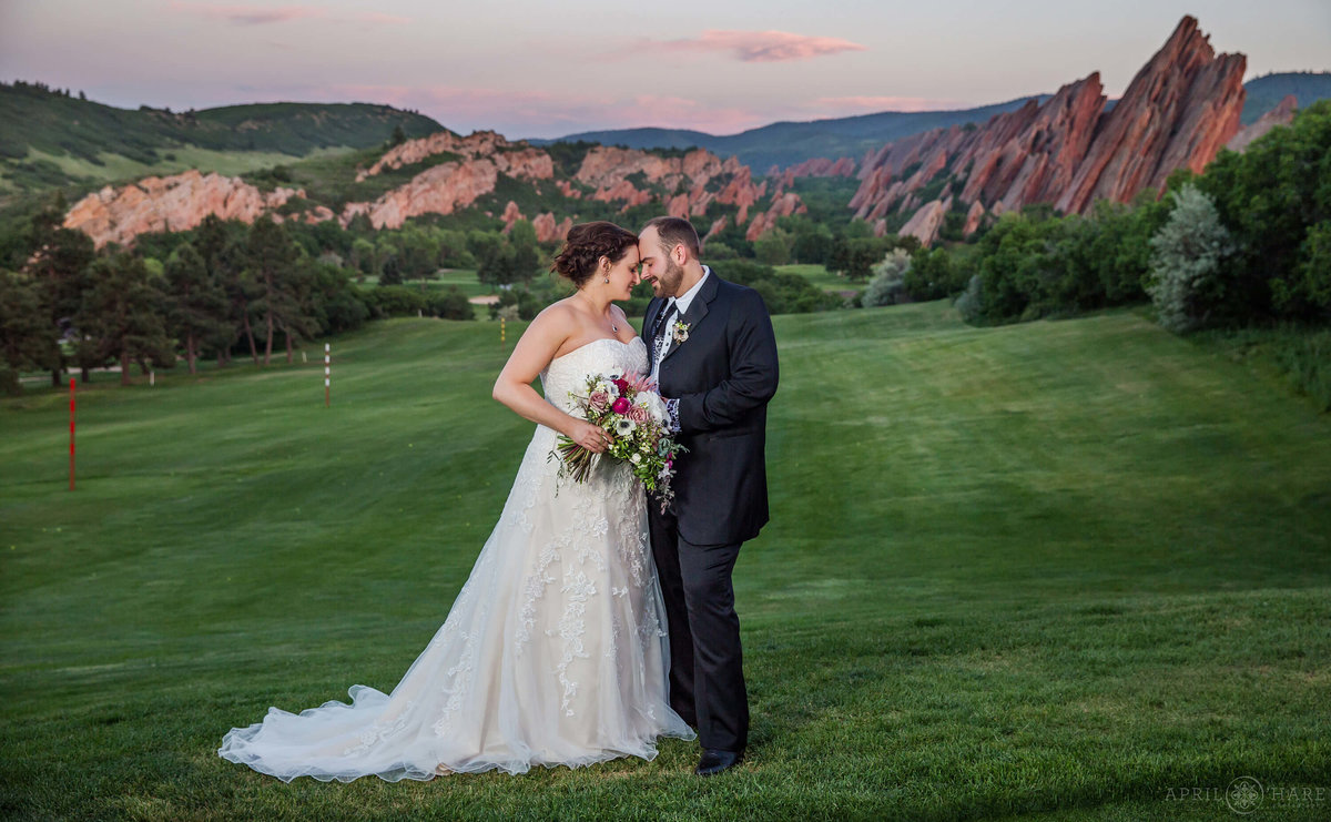 Romantic Sunset Portrait at Arrowhead Golf Club with Red Rock Backdrop