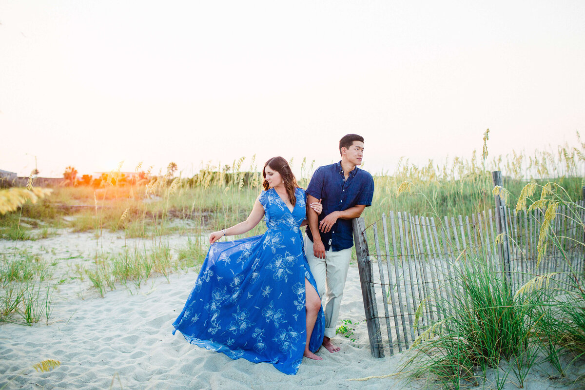 Sunset engagement session on Tybee Island