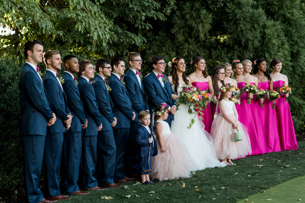 Bridal party in garden at the Washington Golf and Country Club, Arlington, VA