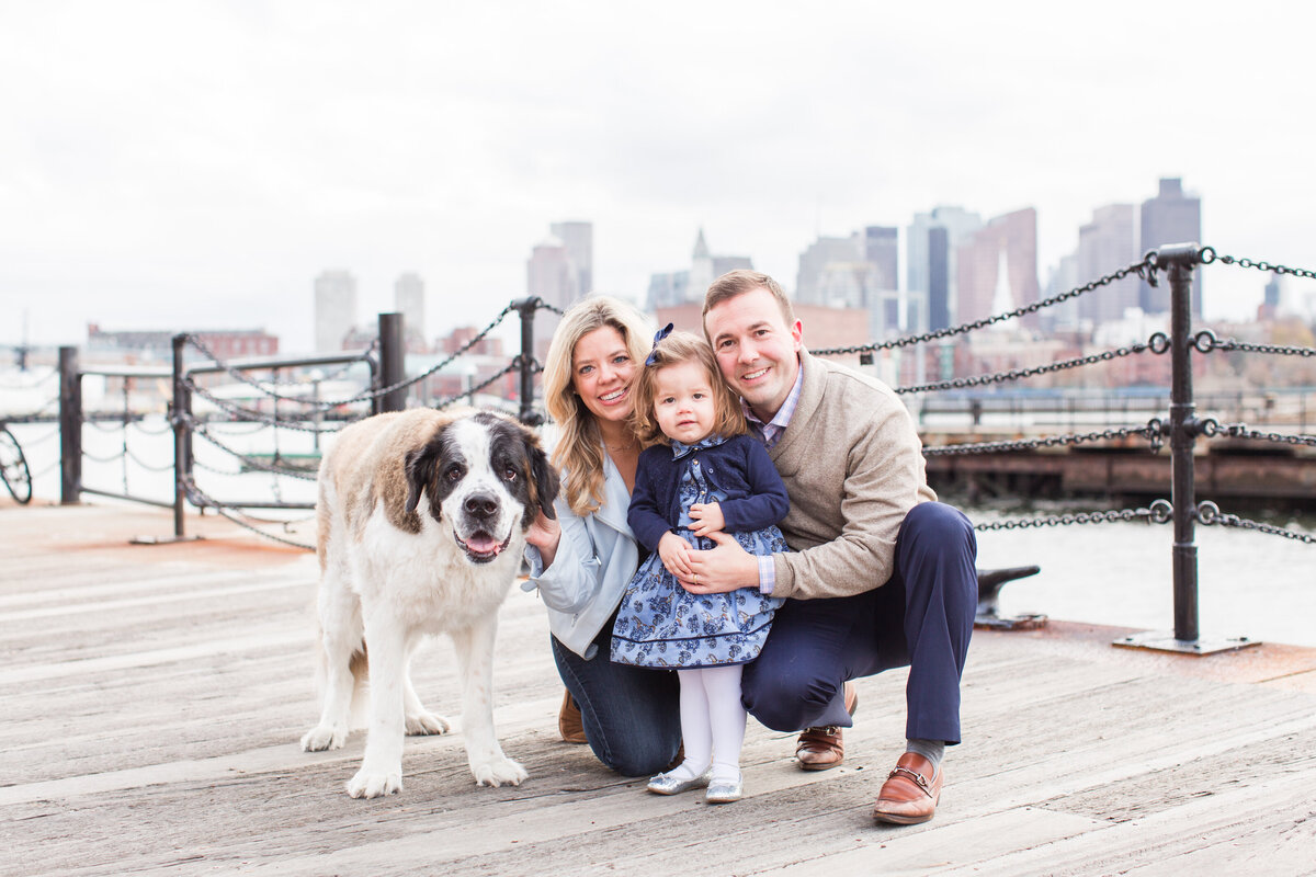 Family with their daughter and dog in Charlestown Navy Yard