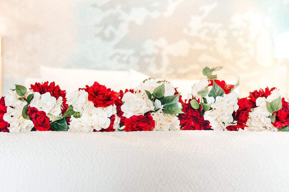 red and white wedding florals winter wedding
