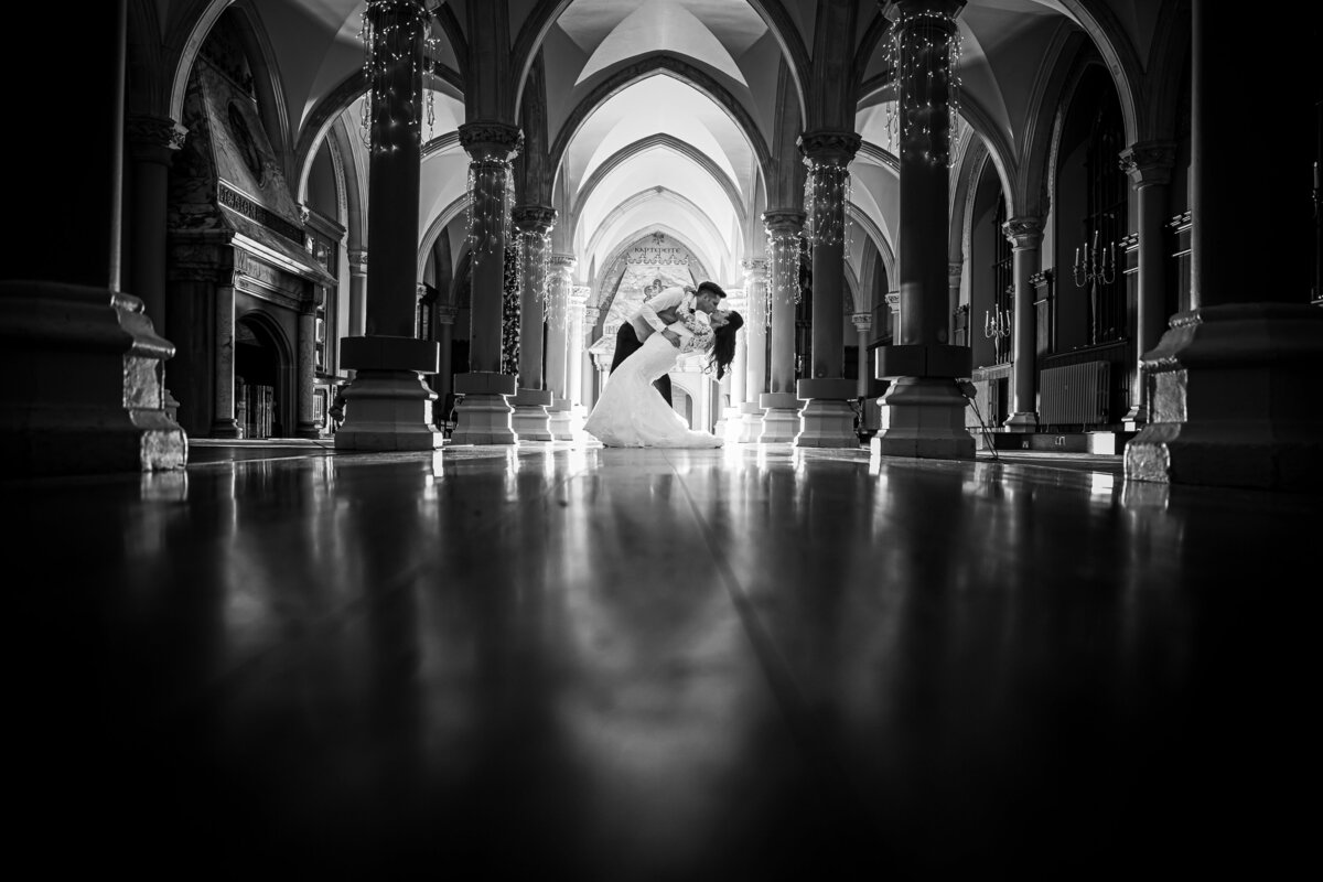 Artistic Black & White Image of a Bride and Groom dancing