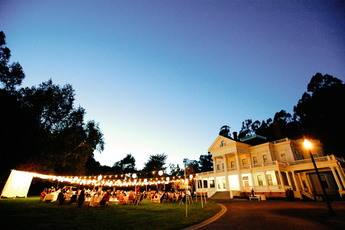 A beautiful wedding reception using cafe lights at the Dunmuir Estate in Oakland, Ca.