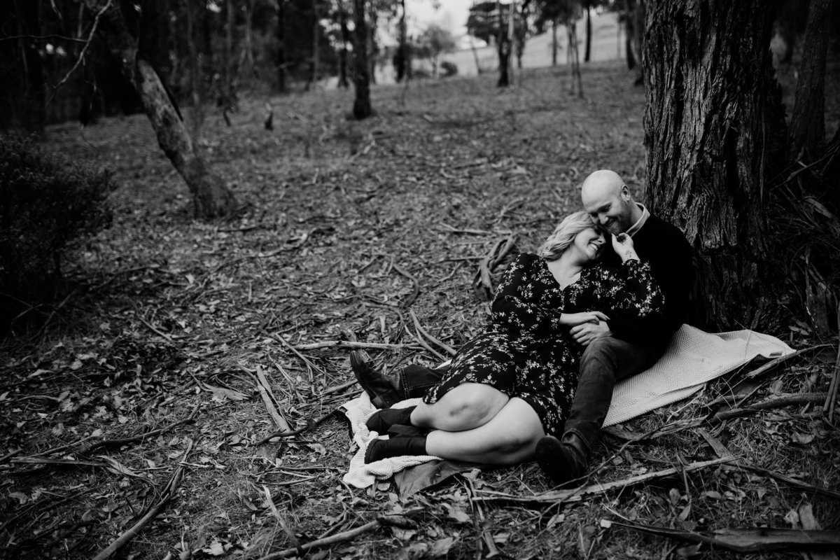 engagement and couples photography Melbourne lying on picnic blanket And So I Don't Forget Photography