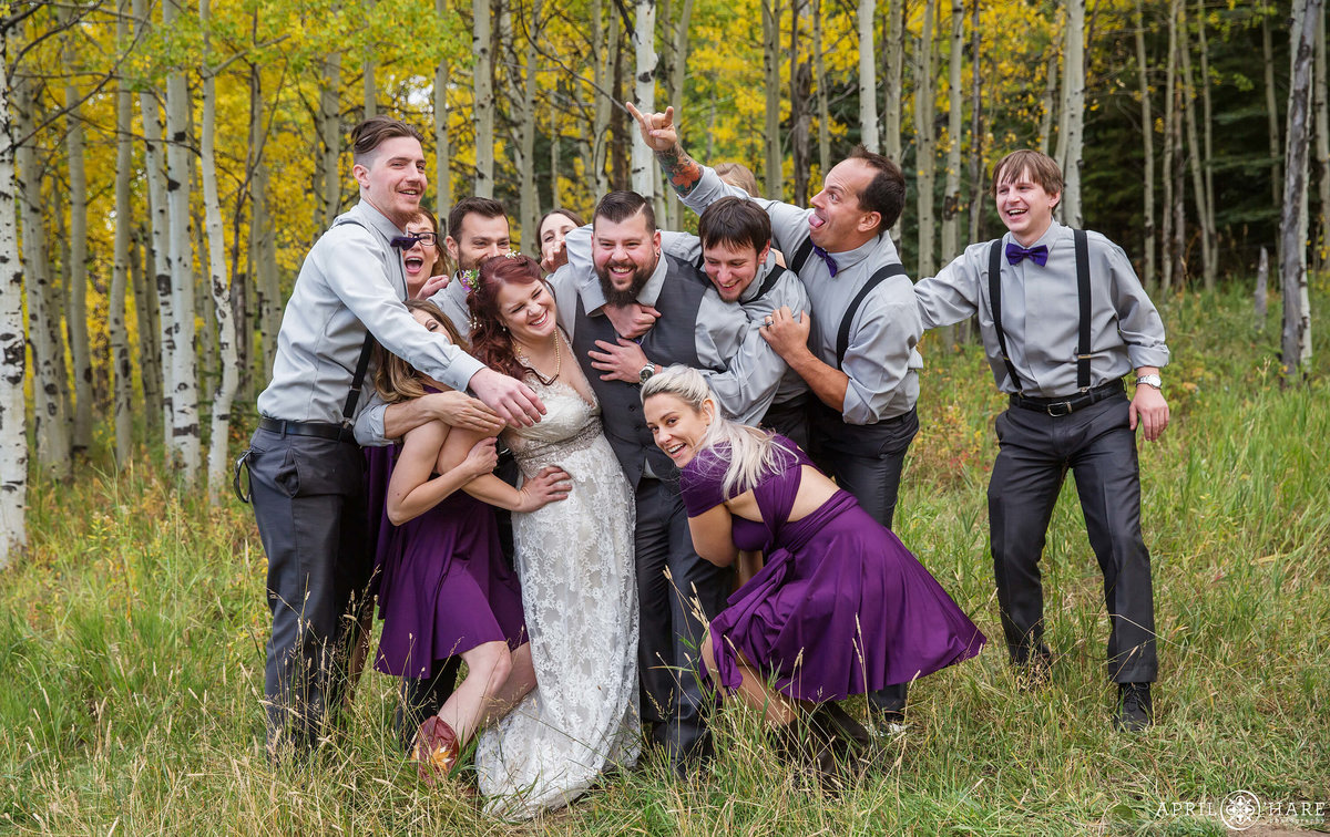 Autumn Wedding in the Mountains Fun Wedding Party Photography