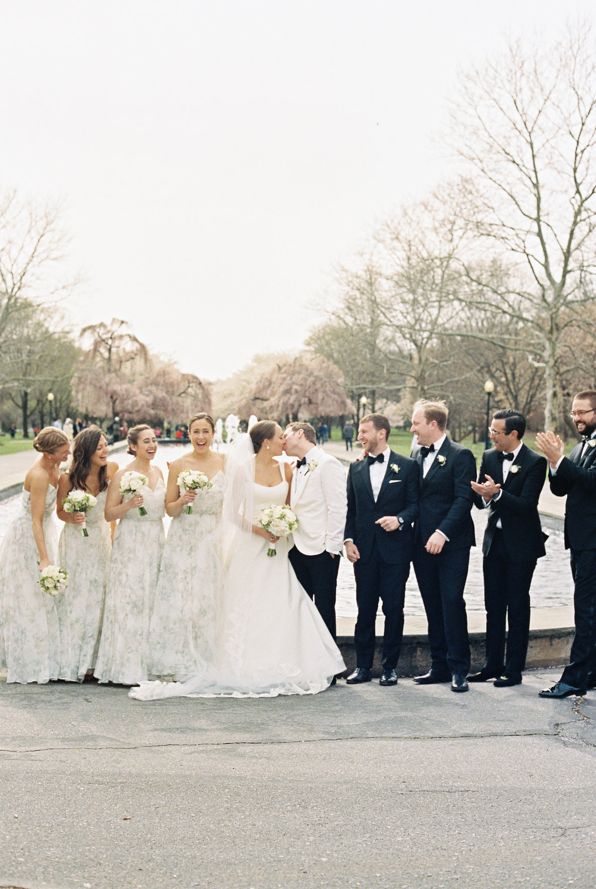 Pastel spring wedding ceremony and reception at Centennial Arboretum and Horticultural Center in Philadelphia.