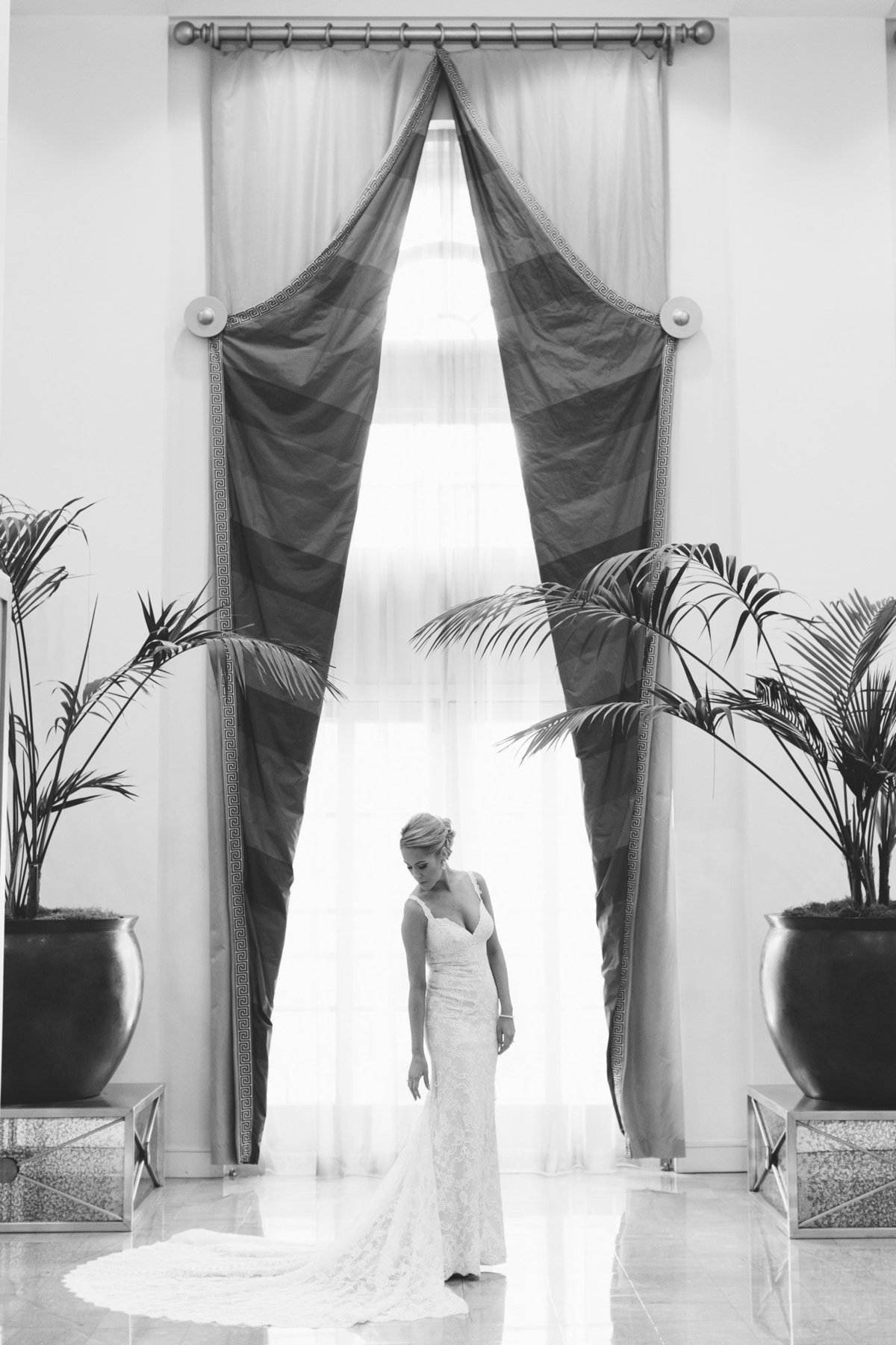 We are in love with this classic black and white bridal portrait  captured by Atlanta's top wedding photographer, Rebecca Cerasani.