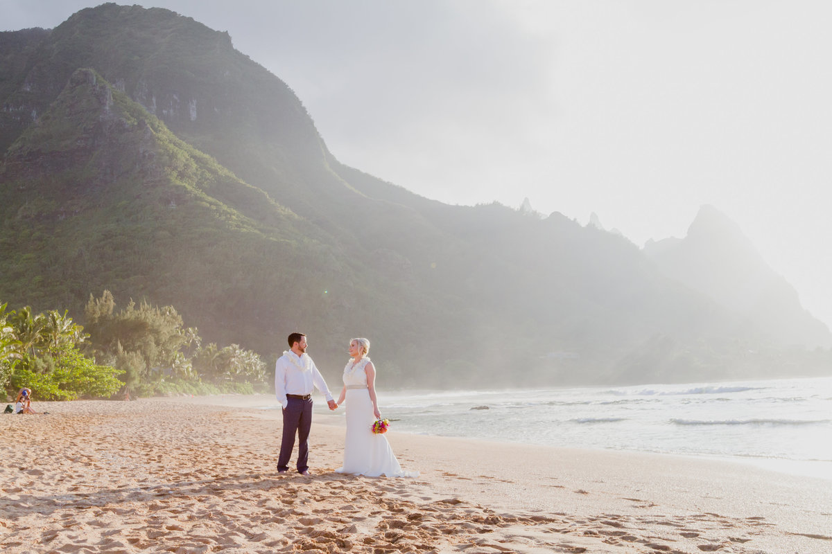 Kauai wedding photos at Tunnels beach.
