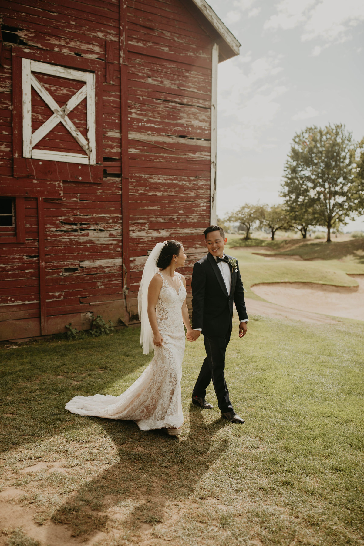 Bride & Groom first look at Langdon Farms Oregon