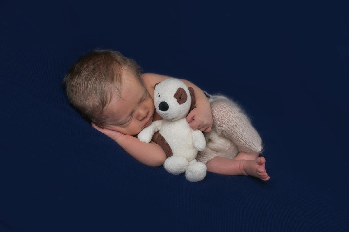 newborn boy cuddles dog doll