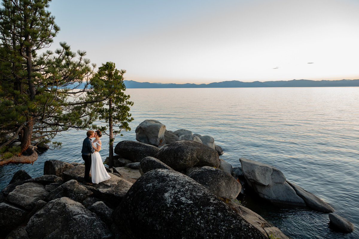 This couple had a small wedding in Lake Tahoe, CA.