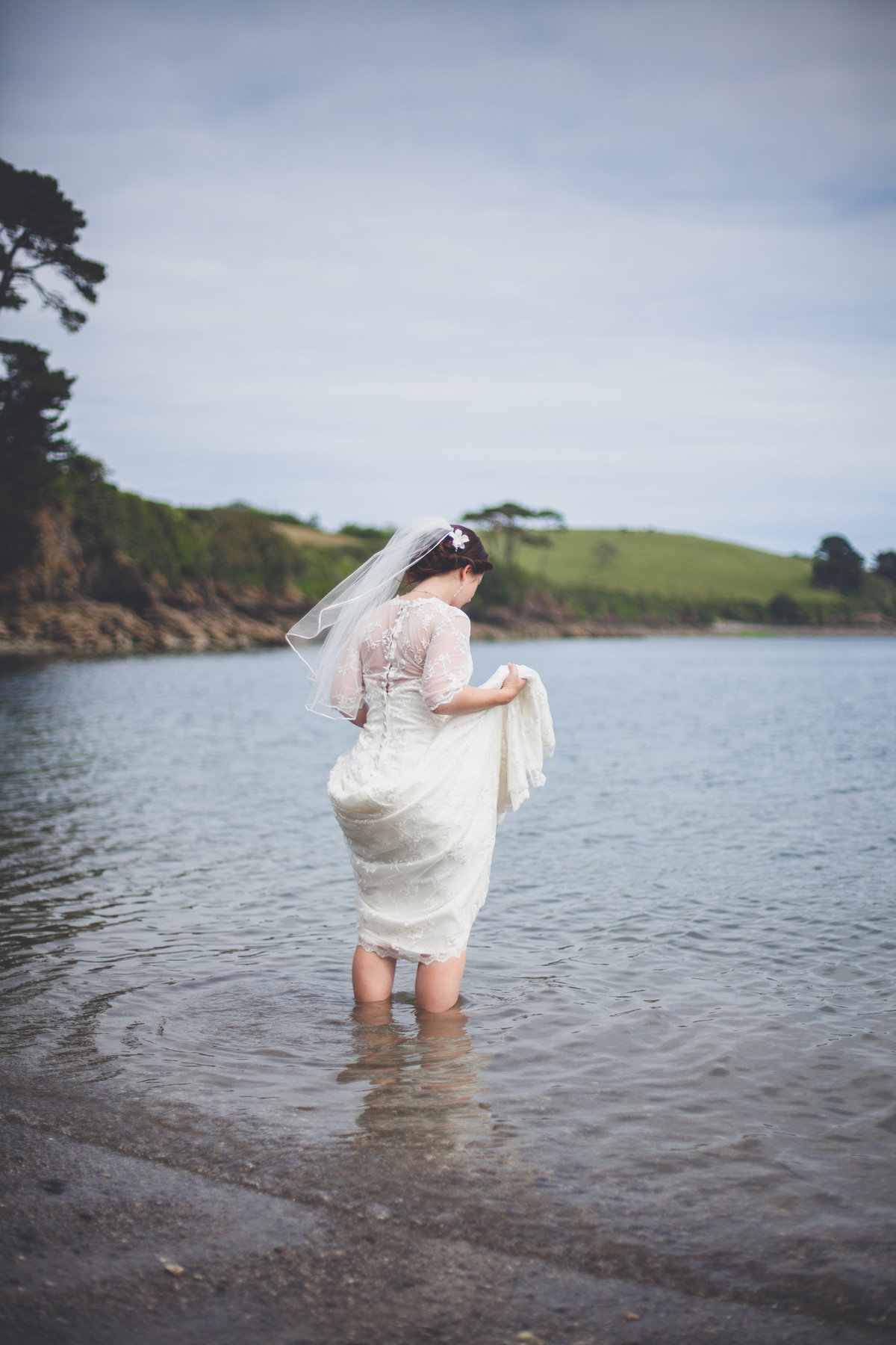 Bride beach wedding cornwall wedding