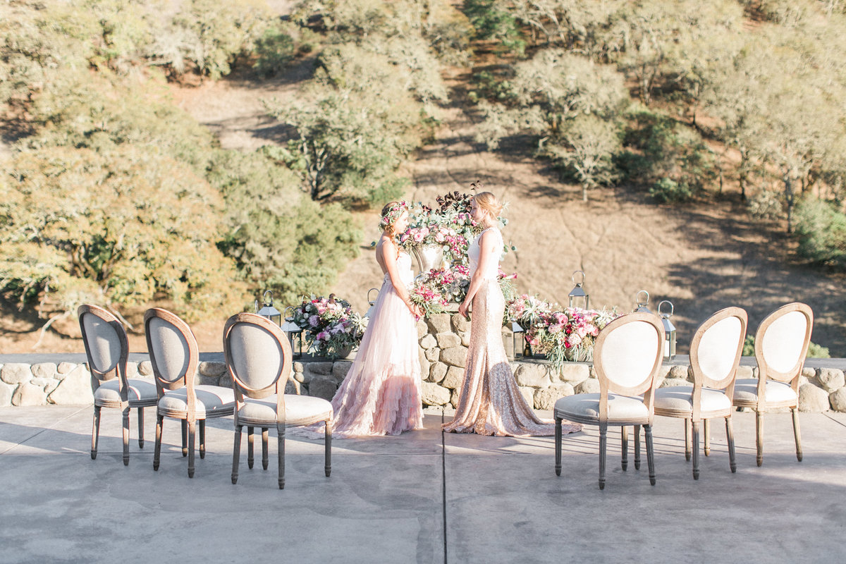French Oak Ranch Wedding Ceremony Terrace
