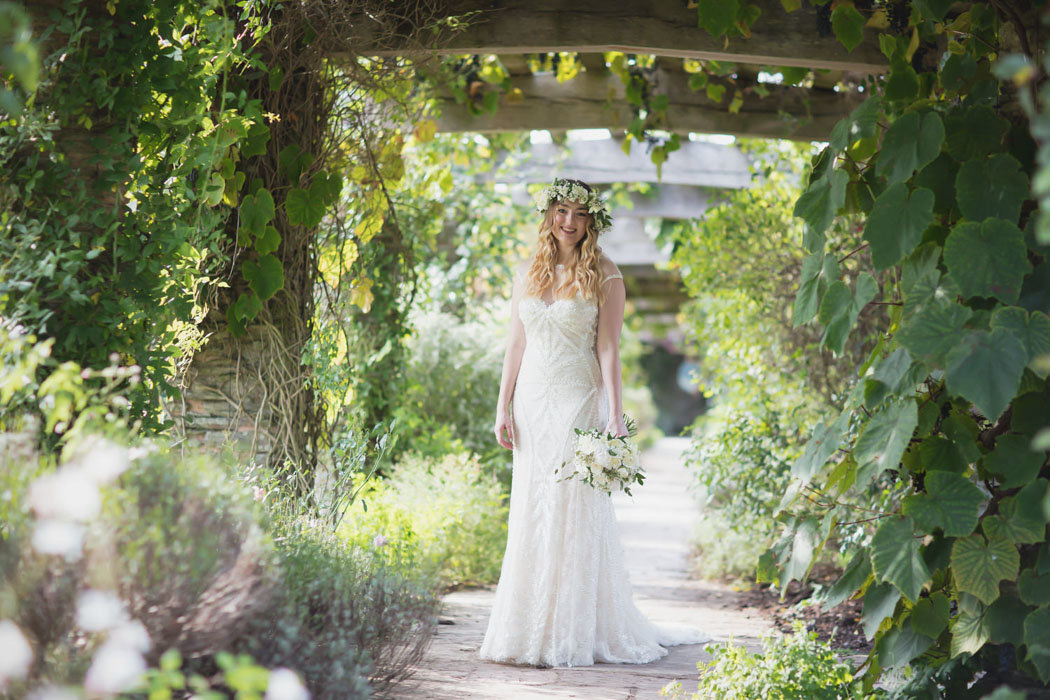 Bride in the gardens at Hestercombe House Wedding Somerset
