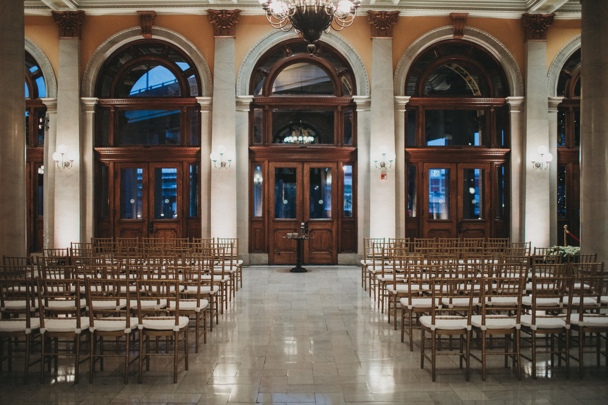 Winter wedding at Main Street Station with wedding planner For Love of Love