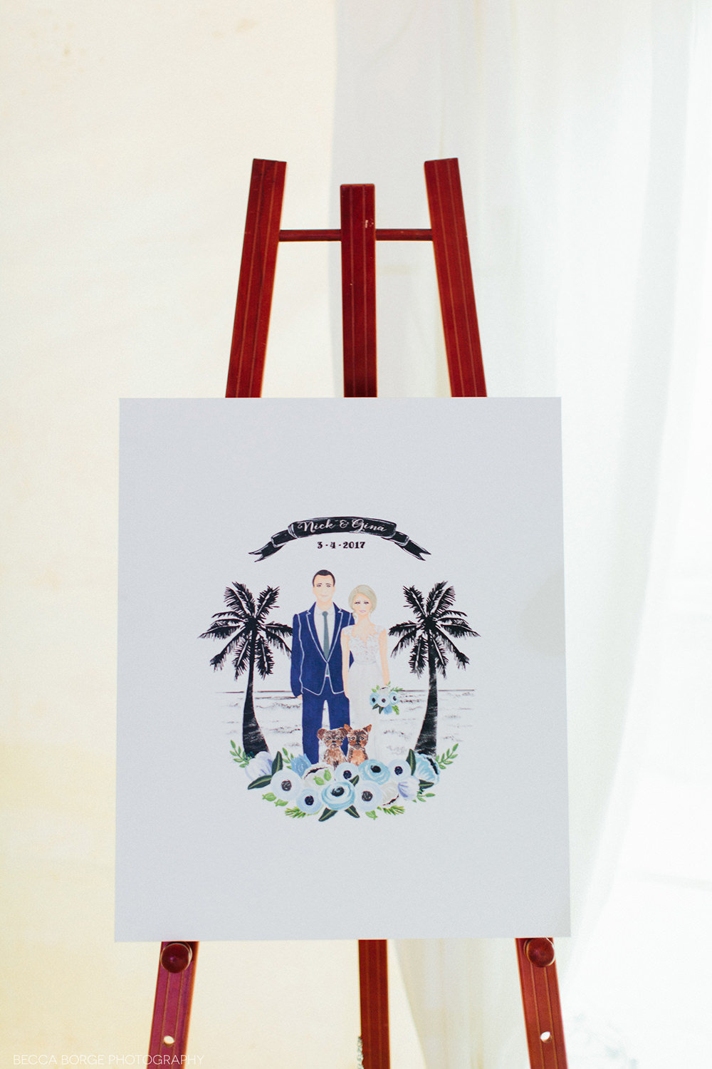 cartoon of bride and groom for sign in at wedding